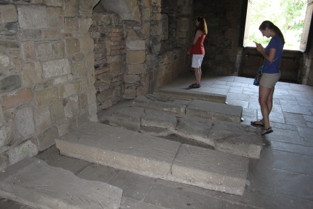Katy and her mum explore medieval grave-slabs