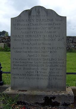 Grace Darling gravestone. After Wikimedia Commons. By Nicholas Jackson (Own work) [CC-BY-SA-3.0 (http://creativecommons.org/licenses/by-sa/3.0)], via Wikimedia Commons