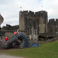 Dragons at Caerphilly Castle